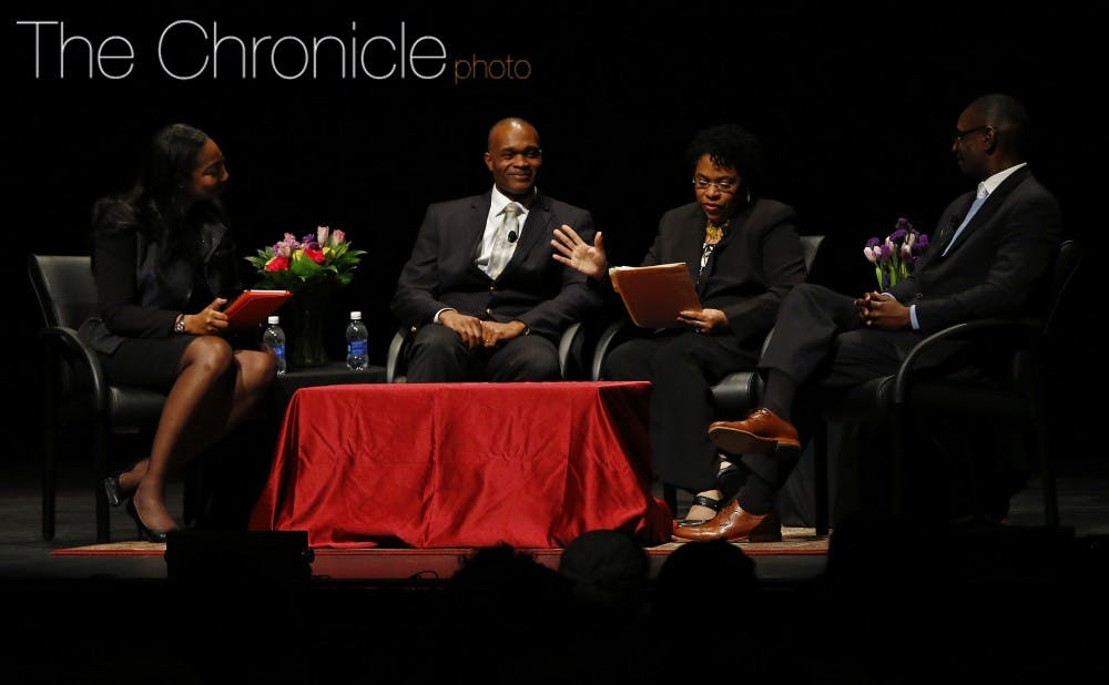 <p>The widow of the Rev. Clementa Pinckney was part of a panel discussion focused on faith and race Tuesday at Page Auditorium.</p>