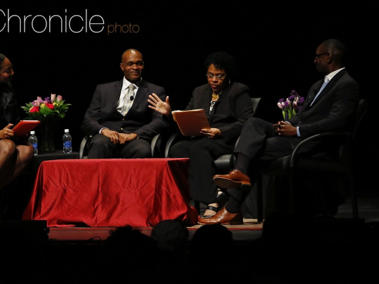 The widow of the Rev. Clementa Pinckney was part of a panel discussion focused on faith and race Tuesday at Page Auditorium.