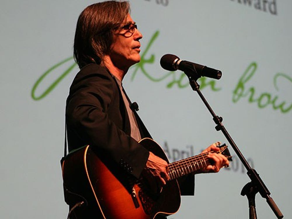Singer-songwriter Jackson Browne performs after he received the Duke Lifetime Environmental Achievement award Saturday afternoon.