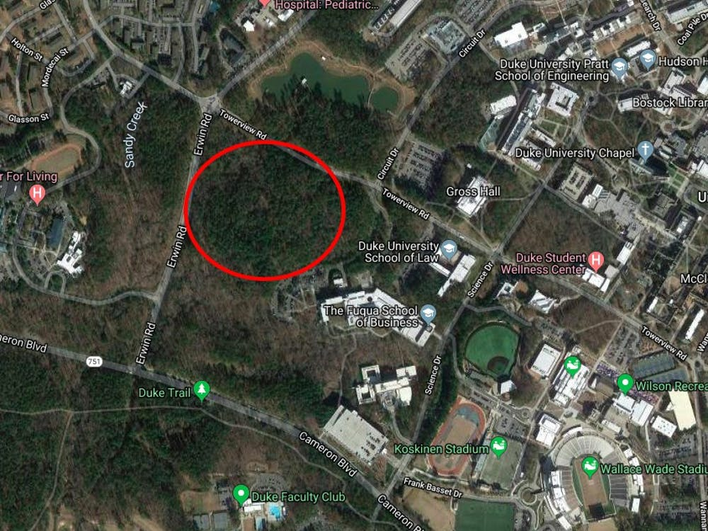 <p>The new graduate apartments will be housed in the forest next to Fuqua, circled in red.</p>