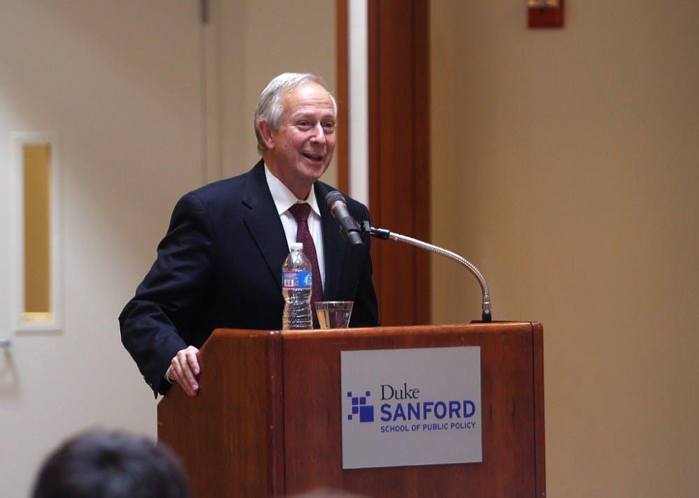 President Richard Brodhead speaks Sunday at the China Leadership Summit.