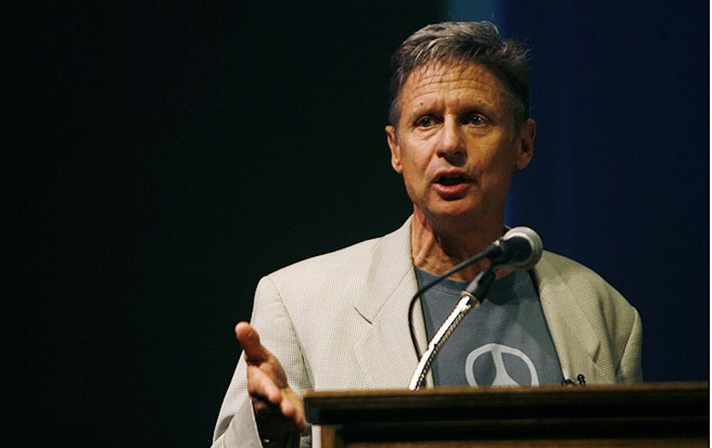 Libertarian presidential candidate Gary Johnson urged students and other supporters to vote for him at Reynolds Theater Wednesday as part of a campaign tour that includes 15 colleges.