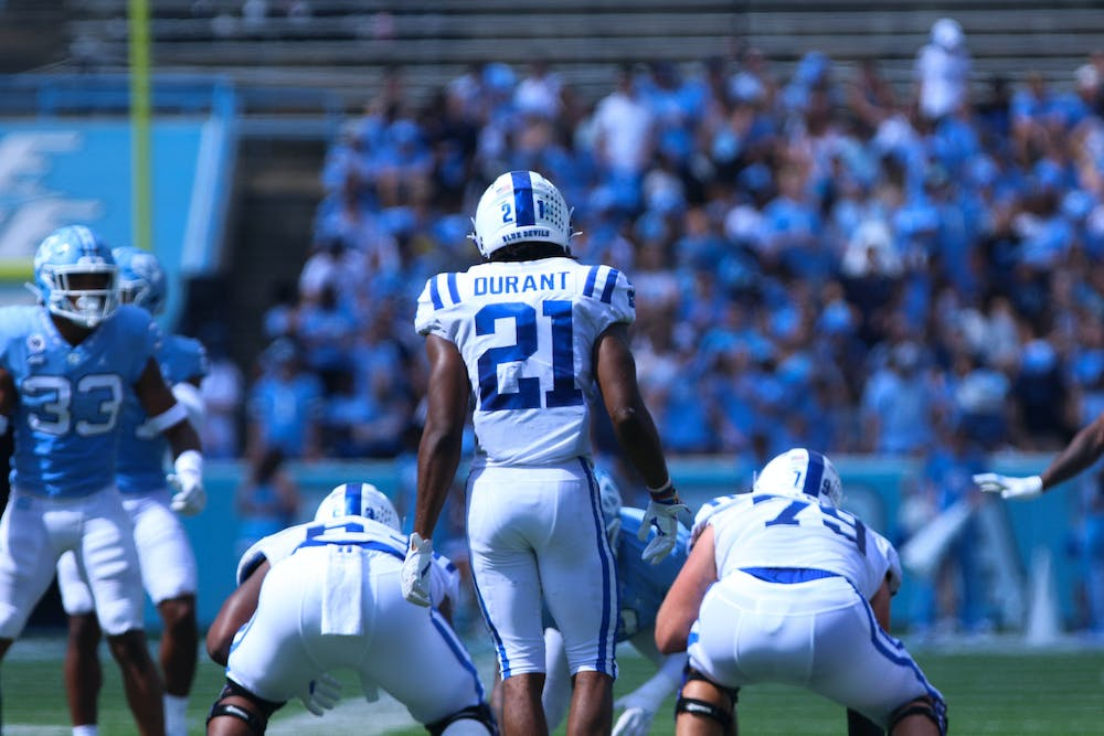 Halfback Mataeo Durant might have been the lone bright spot for the Blue Devils in the opening half.