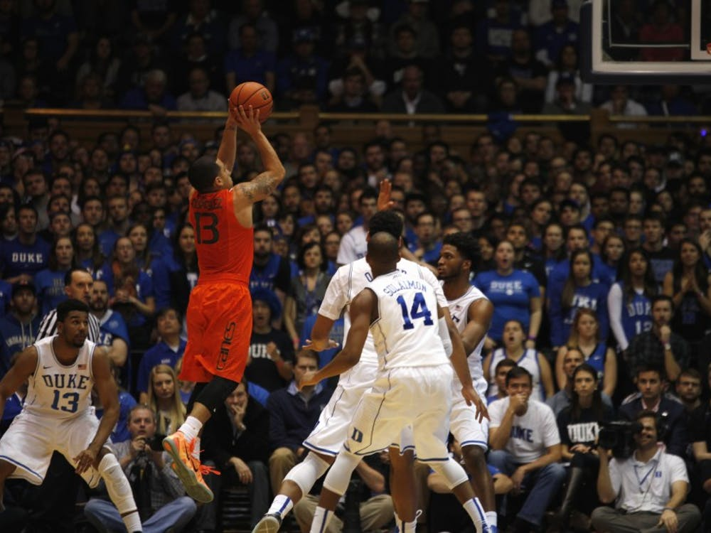 Miami guard Angel Rodriguez torched the Blue Devils all over the floor Tuesday, pouring in a game-high 24 points to lead the Hurricanes to the upset.