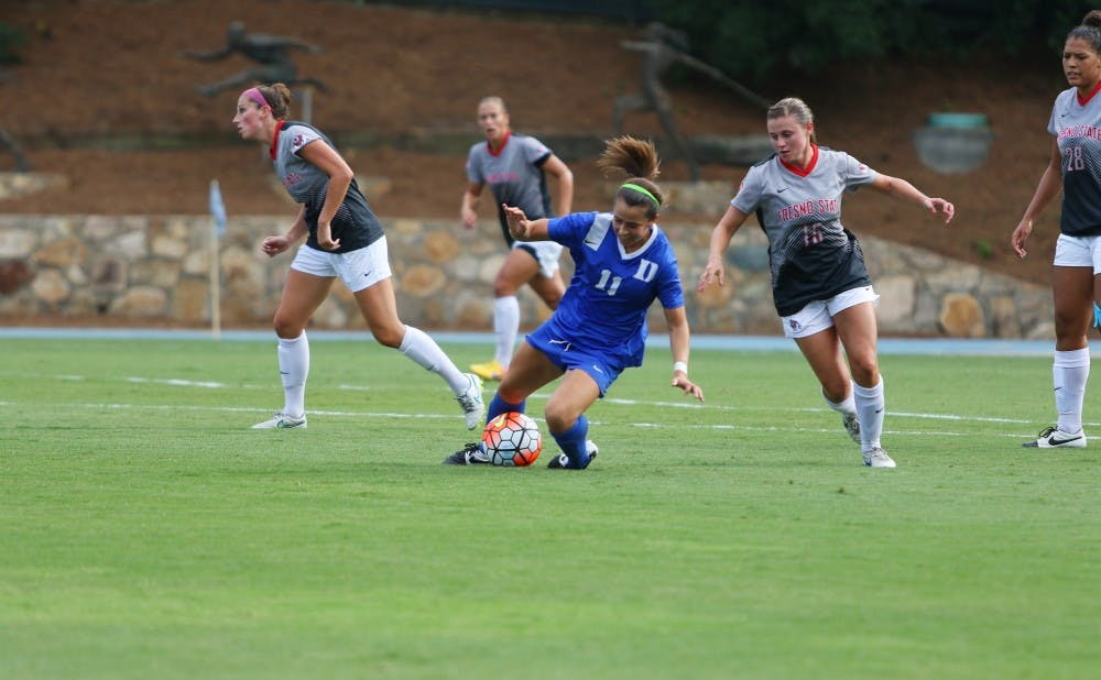 <p>2012 National Rookie of the Year Cassie Pecht finally returned to the field for the Blue Devils after three knee surgeries kept her sidelined for the 2013 and 2014 seasons.</p>