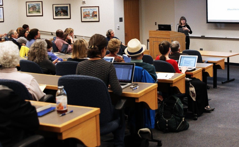 <p>Provost Sally Kornbuth was present at last week's community forum when students raised concerns about faculty diversity and addressed the Academic Council about ways to implement concrete changes Thursday.</p>