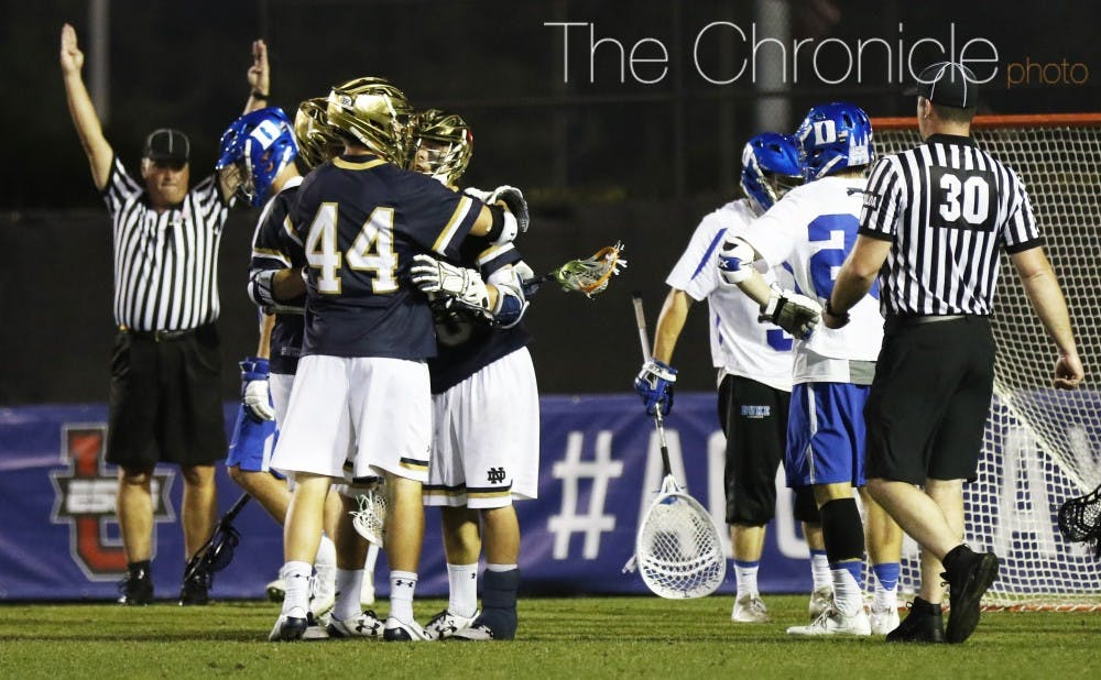 <p>Notre Dame scored two goals in the last three minutes to break a 5-5 tie and earn its revenge against Duke.</p>