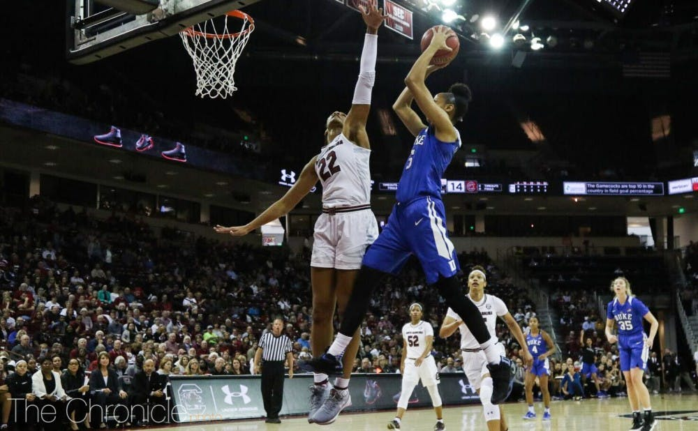 The Gamecocks controlled the paint all afternoon Sunday, limiting the Blue Devils' opportunities around the basket.