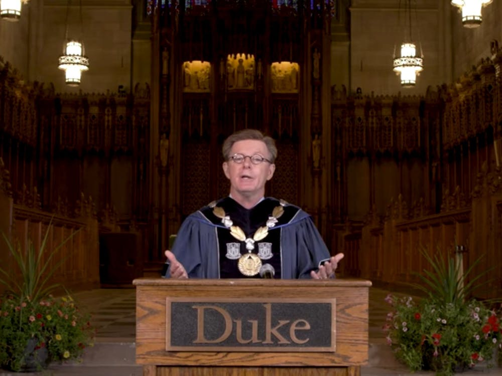 <p>President Vincent Price and others addressed the Class of 2024 by livestream for Duke's first-ever virtual convocation.</p>