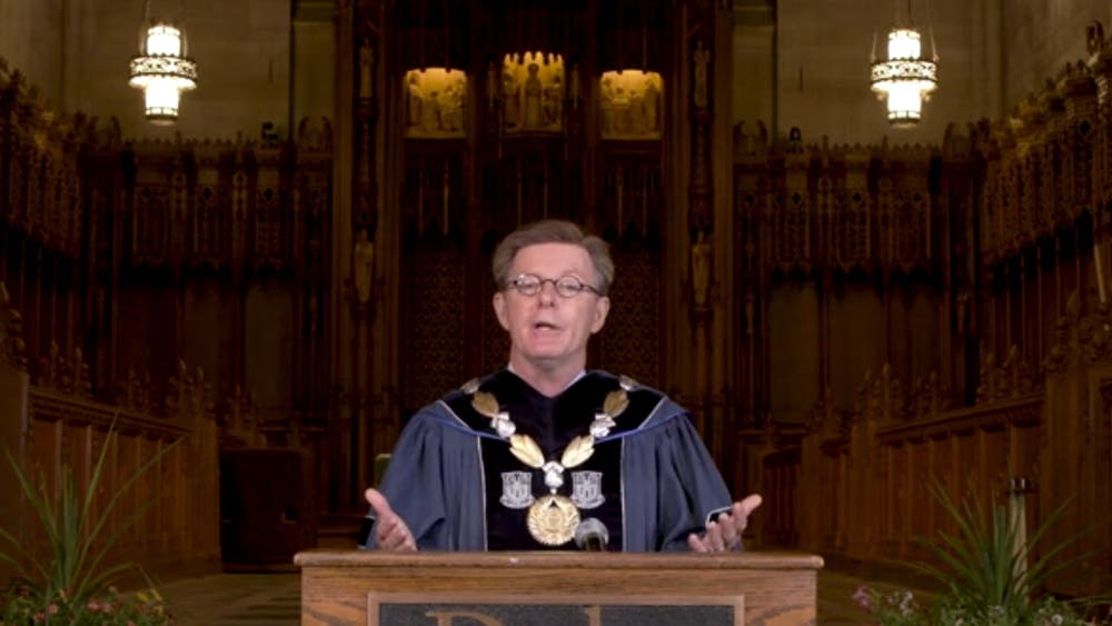 President Vincent Price and others addressed the Class of 2024 by livestream for Duke's first-ever virtual convocation.