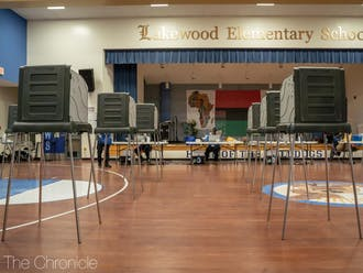 Empty polling booths at a quite Lakewood Elementary voting site in the 6th precinct.