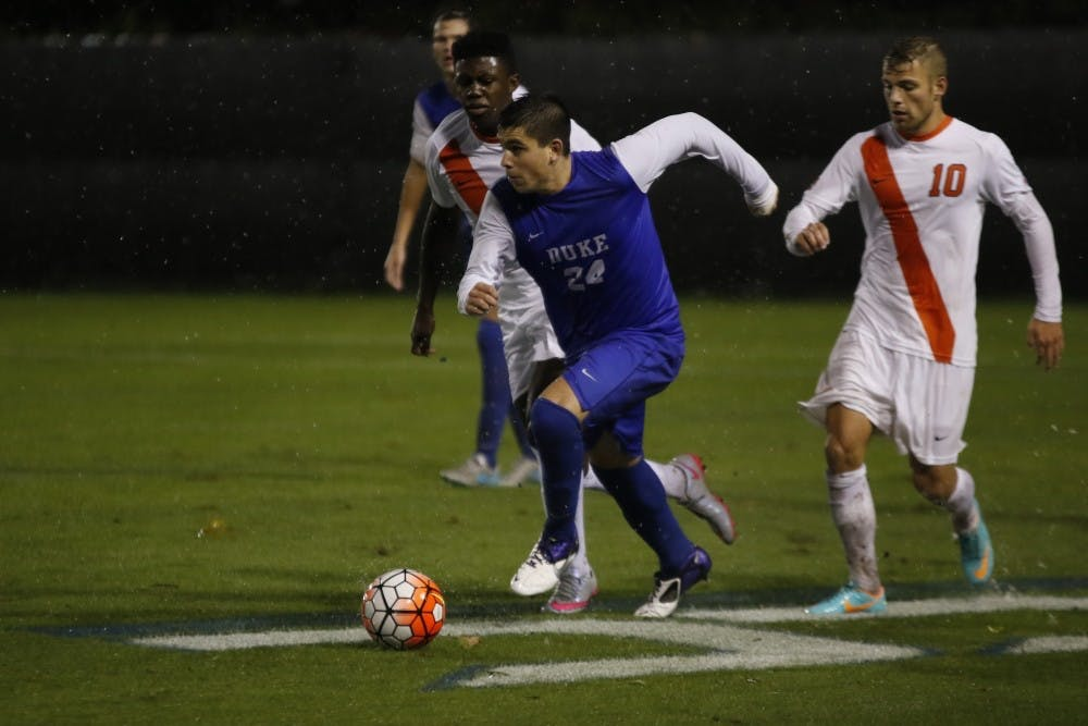 <p>Sophomore Brian White notched a goal for the Blue Devils Saturday against No. 7 Notre Dame, but a second-half rally wasn't enough to stop Duke's winless streak in ACC play.</p>