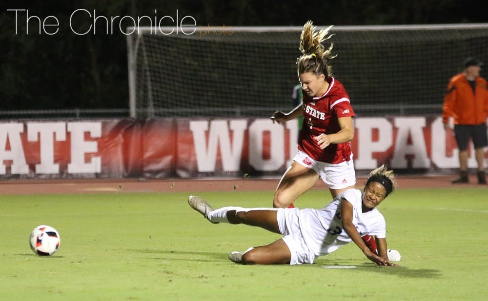 <p>Junior Imani Dorsey went down in the box in the first half to set up a Christina Gibbons penalty-kick goal.</p>