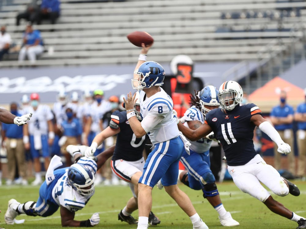 Chase Brice will need to take care of the football for Duke to have success this Saturday.