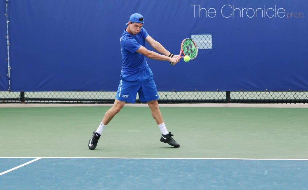<p>Spencer Furman got to play at No. 1 singles following a few strong efforts.&nbsp;</p>