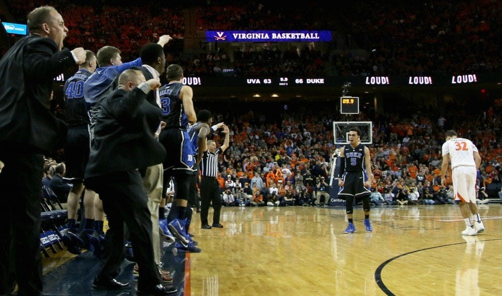 There have been plenty of memorable moments from the recent Duke-Virginia series, but perhaps none as poignant as Tyus Jones' 2015 dagger triple in Charlottesville, Va.