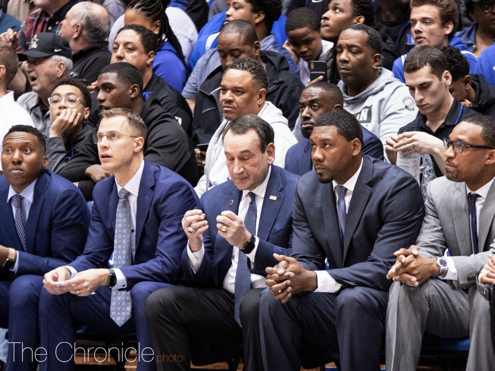 Coach K appeared visibly frustrated at times during the game