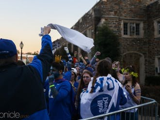 Hundreds of Duke students poured into K-Ville while awaiting the start of Saturday's men's basketball game against UNC.