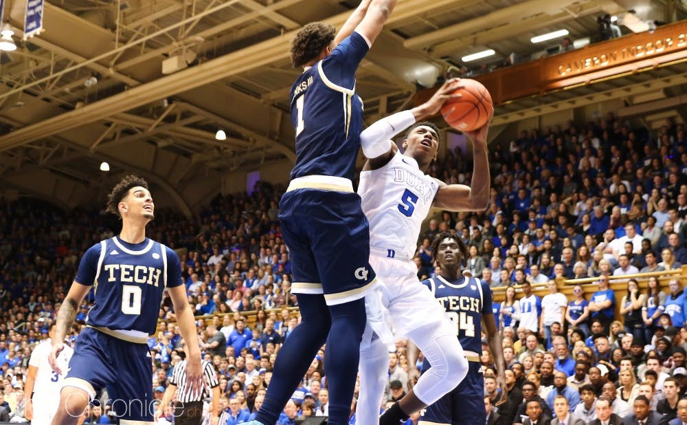 <p>R.J. Barrett led the way with a 24-point, 11-rebound double-double outing as Duke pushed past Georgia Tech in the final 18 minutes Saturday.</p>