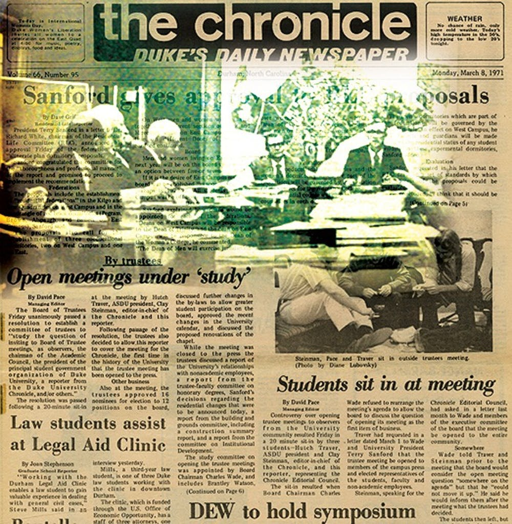 In 1971 students staged a sit-in during a Board of Trustees meeting.