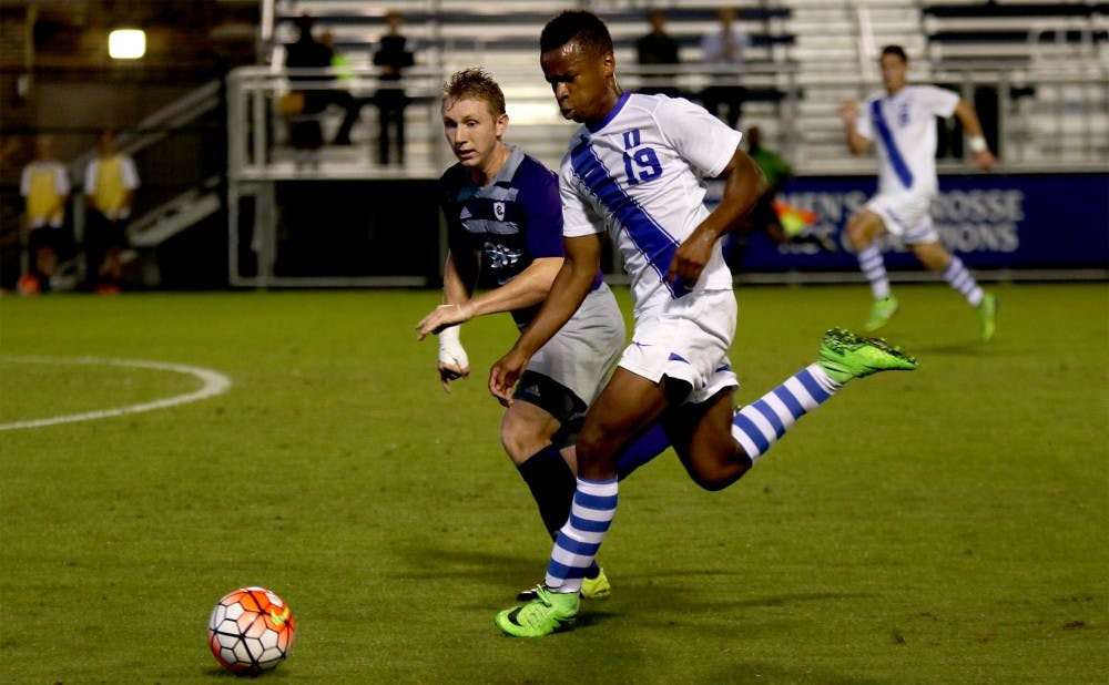 <p>Sophomore Jeremy Ebobisse and the Blue Devils generated plenty of scoring chances Tuesday but were unable to break through in a 1-0 loss to Holy Cross.</p>
