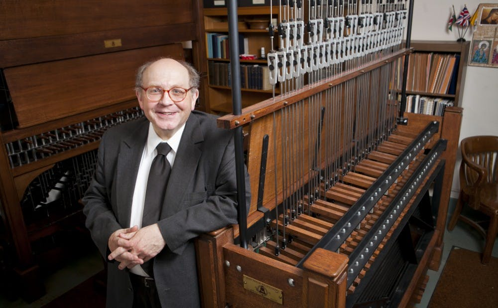 Sam Hammond, Duke University carillonneur,  plays the carillon in Duke Chapel from a small room located just below the bells high in the chapel tower. He started playing in 1965 as a Duke sophomore and has been on the job ever since.