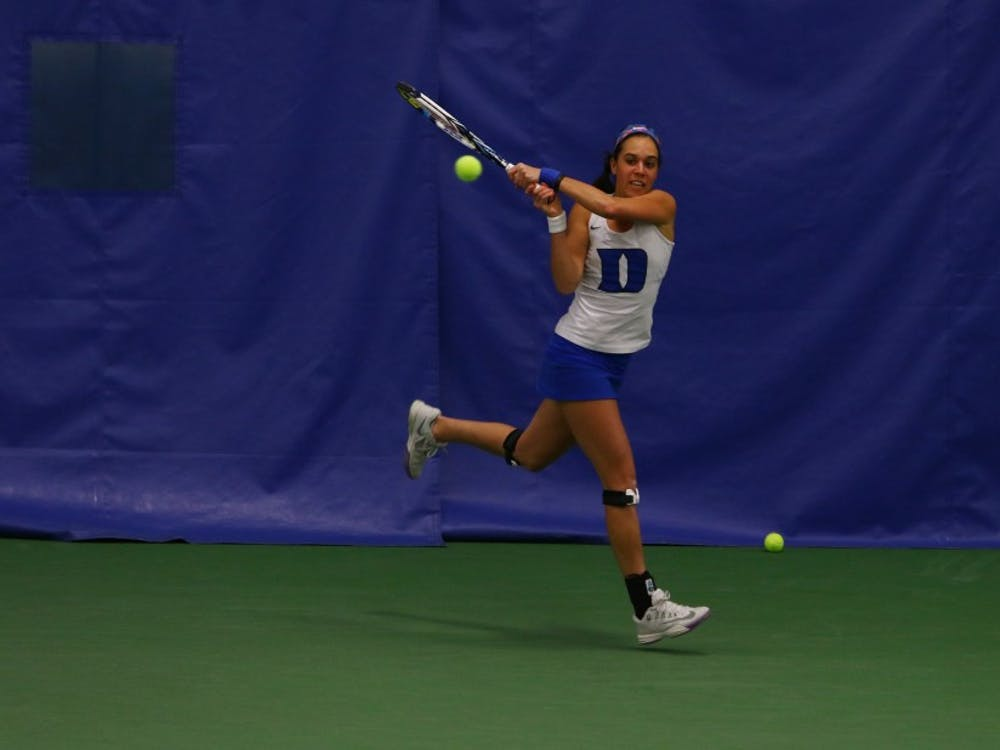 Senior Beatrice Capra returned to the lineup Sunday after missing Friday's win against Syracuse and won her single match on court one, but the rest of the Blue Devils could not follow suit.