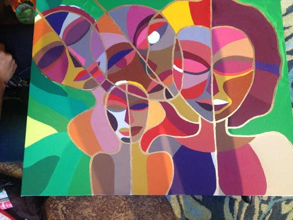 <p>Durham artist Candy Carver brought her colorful work and personality to a self-portrait workshop hosted through Duke Create.</p>