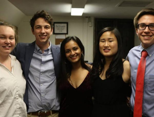 Former editors in the newsroom