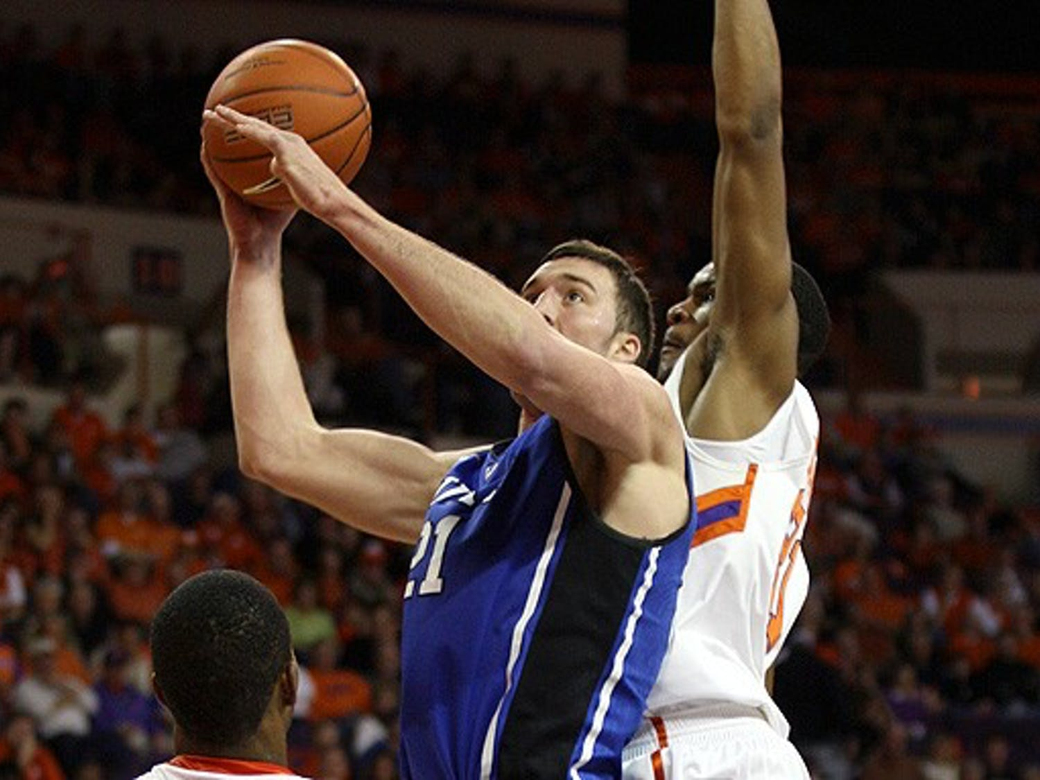Miles Plumlee helped Duke overcome an early rebounding deficit by grabbing a game-high 14 boards, including eight in the second half.