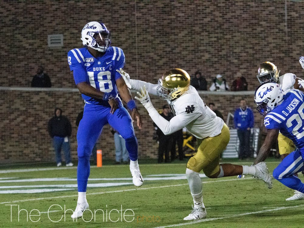 <p>Quentin Harris and the Blue Devils struggled to get anything going offensively against Notre Dame.</p>