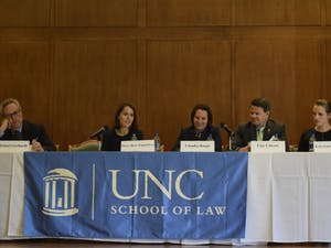 (From left to right) Michael Gerhardt, Mary-Rose Papandrea, Claudia Haupt, Clay Calvert and Kyla Garrett Wagner take part in the first panel  discussion of the Sex and the First Amendment symposium on Friday, Nov. 16, 2018. This panel focused on sex through the lens  of the First Amendment's protection of freedom of expression.