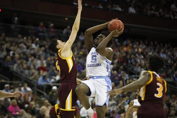 First-year forward Nassir Little goes up for a layup during the first half of UNC's first-round NCAA Tournament game against Iona at the Nationwide Arena in Columbus, Ohio, on March 22, 2019.