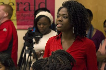 UNC junior Renisha Harris leads a group discussion on race and the recent events in Ferguson, Mo., at the Sonja Haynes Stone Center on Monday.