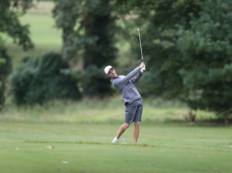 UNC sophomore golfer Ryan Gerard follows through on a shot. Photo courtesy of Go Heels.
