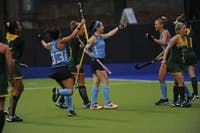 UNC's field hockey team celebrates after forward Erin Matson (1) scores the first goal of the match against William and Mary during the first round of the NCAA Tournament in Karen Shelton Stadium Friday. UNC won 4-0 to move on to the second round. Matson, a freshman pre-business major, is a member of the U.S. National Team and played at the 2018 Hockey World Cup.