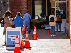 Students line up for COVID testing outside of UNC Rams Head Recreation Center on Tuesday, Feb. 16, 2021.