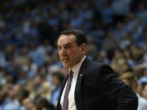 Duke's Coach Krzyzewski shouts at the referee.