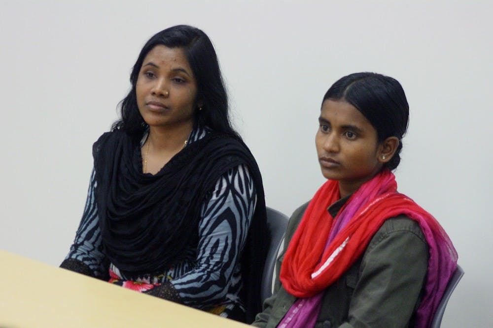 Bangladeshi garment workers speak on campus in favor of safety accord
