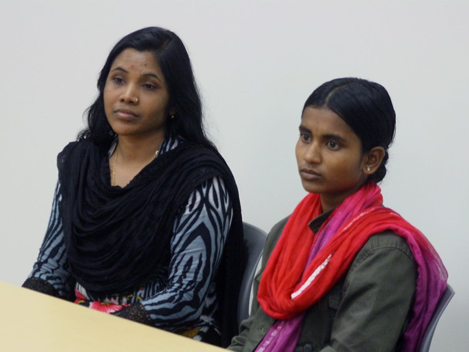 The Student Action with workers invited two Bangladeshi workers to speak in the Union. These two have traveled across the country to at least 18 different schools in order to advocate the end of harmful environments for workers in factories. Aleya Akter (left) and Aklima Khanam (right) along with their translator.