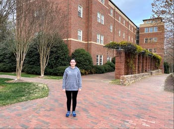 Maya Tadross stands outside Koury Residence Hall. Photo courtesy of Tadross.