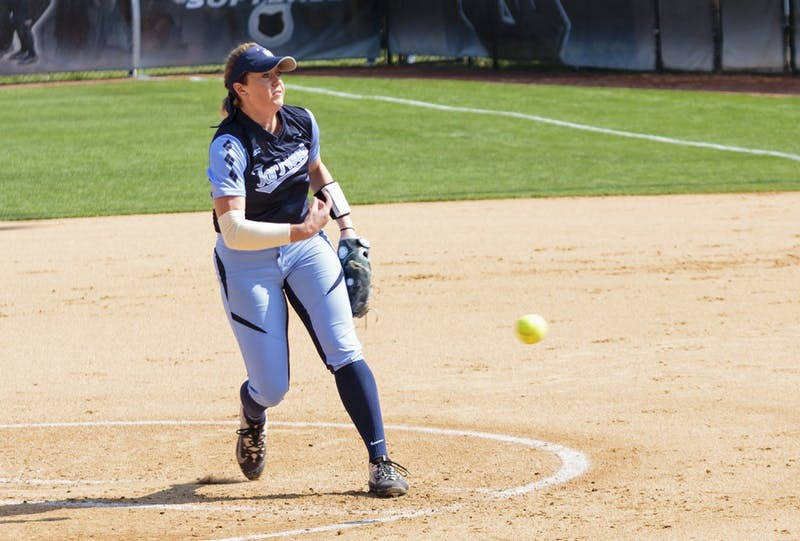 North Carolina pitcher Kendra Lynch (15) throws a pitch in Saturday's game against Pittsburgh.