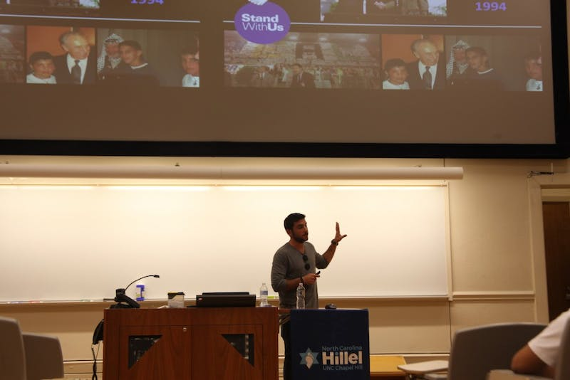 Barak tells of his experience as an Israeli Soldier at Between The Lines event hosted by StandWithUs, Chapel Hill Durham Chabad and North Carolina Hillel in Howell Hall Monday Oct. 15, 2018.