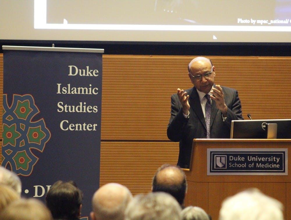 Khizr Khan visits Duke's campus