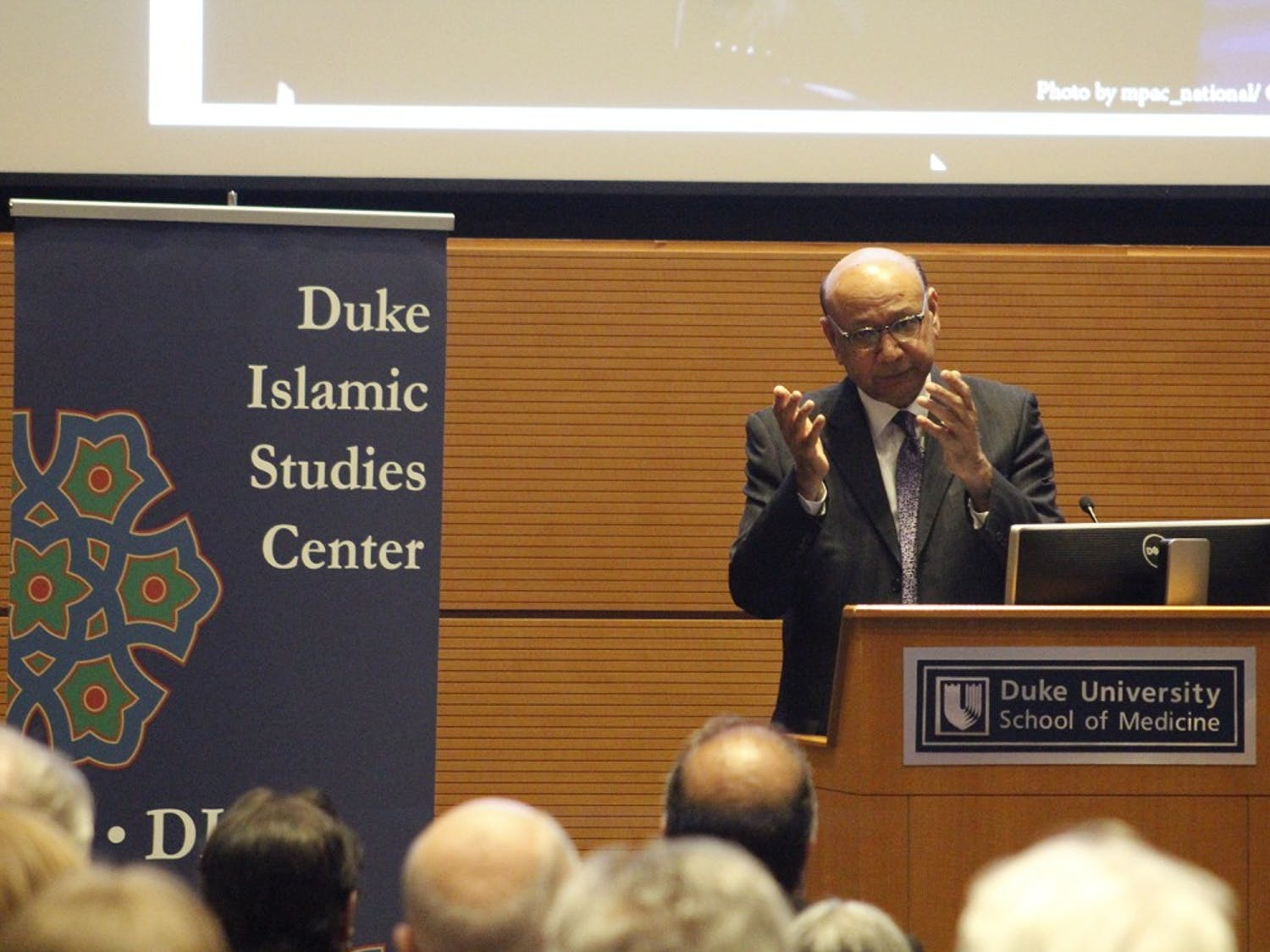 Khzir Khan, father of a Muslim American soldier and speaker at the Democratic National Convention spoke at Duke University Thursday about his experience in the election cycle.