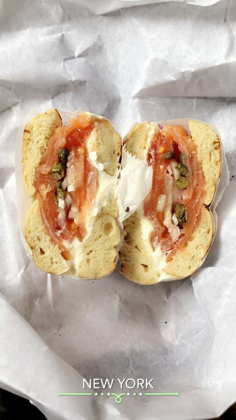 Smoked salmon bagel at Black Seed Bagels.