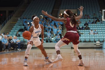 UNC freshman guard Kennady Tucker (4) prepares to pass the ball past Elon sophomore Brie Perpignan (0) on Friday, Nov. 22, 2019 in Carmichael Arena. UNC beat Elon 76-46.