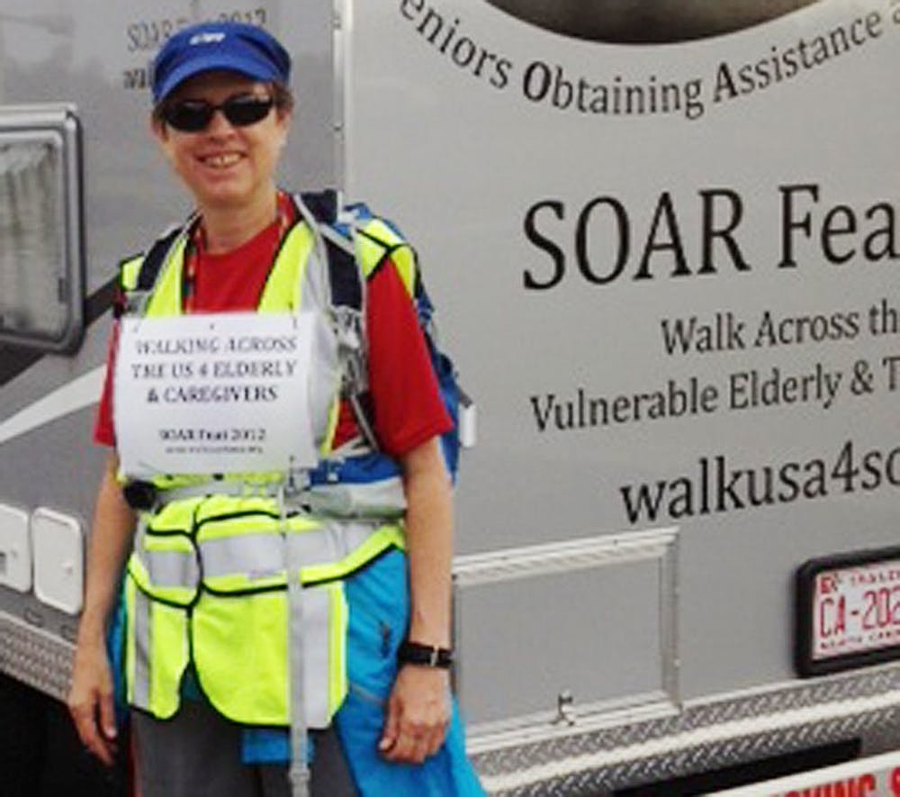 Carrboro woman walks across US to raise money and awareness for elderly care