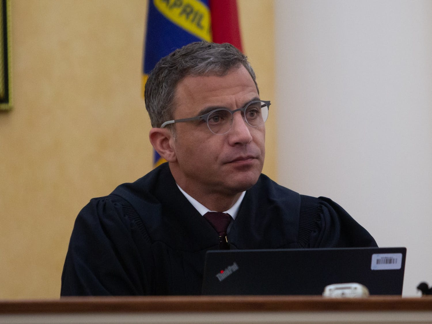 Judge Allen Baddour looks on as SCV lawyer Boyd Stourges speaks during the hearing on Wednesday, Feb. 12, 2020. Judge Baddour ruled to vacate the consent order an dismiss the lawsuit regarding Silent Sam.