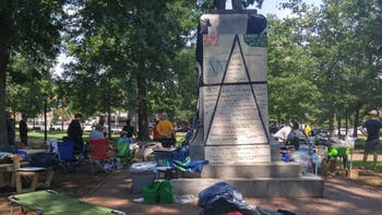 Pro-Confederate counter-protestors showed up at a sit-in in front of Silent Sam on Saturday.